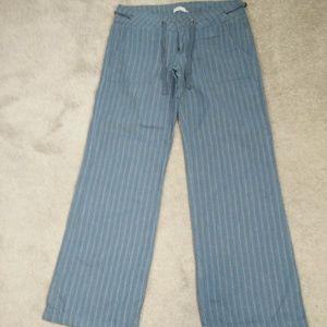 PRANA Stripe Organic Cotton Hemp Wide Leg Pants 10
